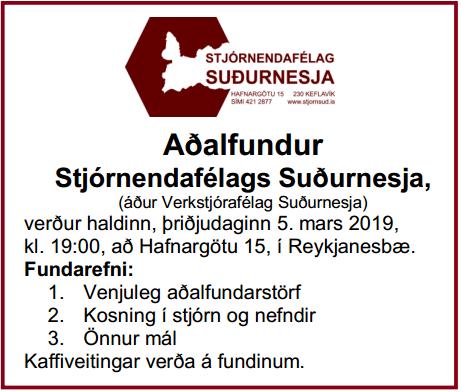 Fundarboð 2019 Víkurfréttir